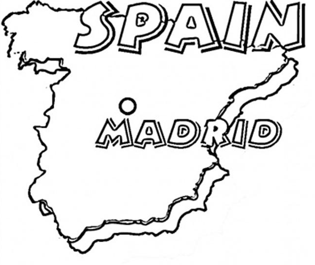 Spain Map Coloring Page Coloring Page Amp Book For Kids