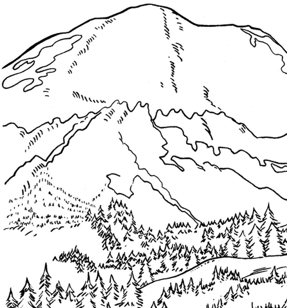 Mountain Scene coloring page | Free Printable Coloring Pages | 1070x997