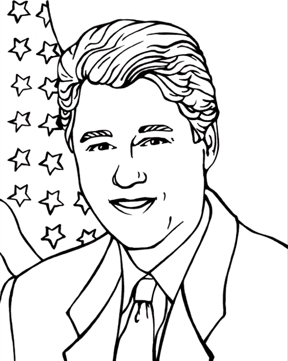 President Bill Clinton Coloring Page coloring page & book