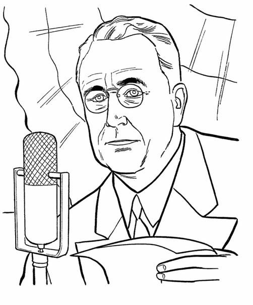 US President Franklin D Roosevelt Coloring Page