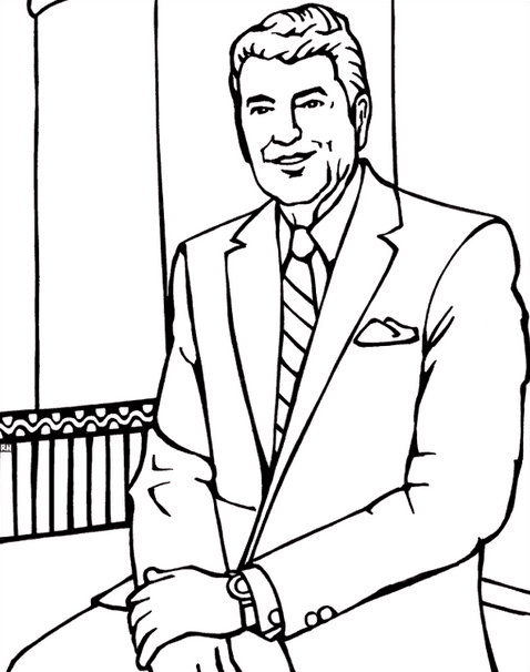US President Ronald Reagan Coloring Page coloring page