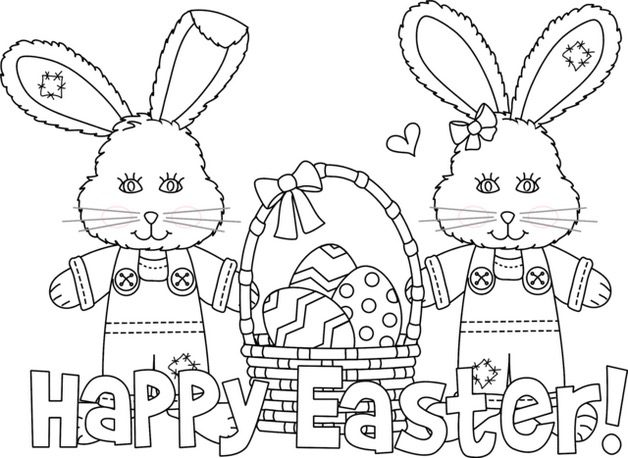 Printable Easter Bunny Coloring Page coloring page & book for kids.
