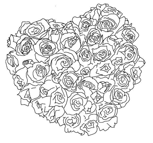 Rose Bouquet Heart Coloring Page