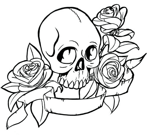 Rose Skull Coloring Page Coloring Book
