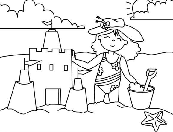 sand castle coloring pages kids - photo#8