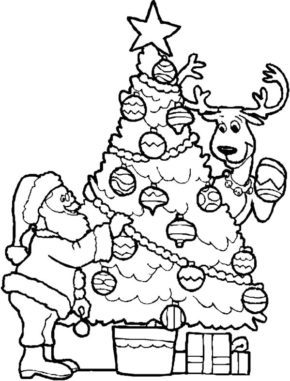 Santa Christmas Tree Coloring Page