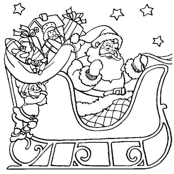 Santa sleigh coloring page coloring book for Santa and sleigh coloring pages