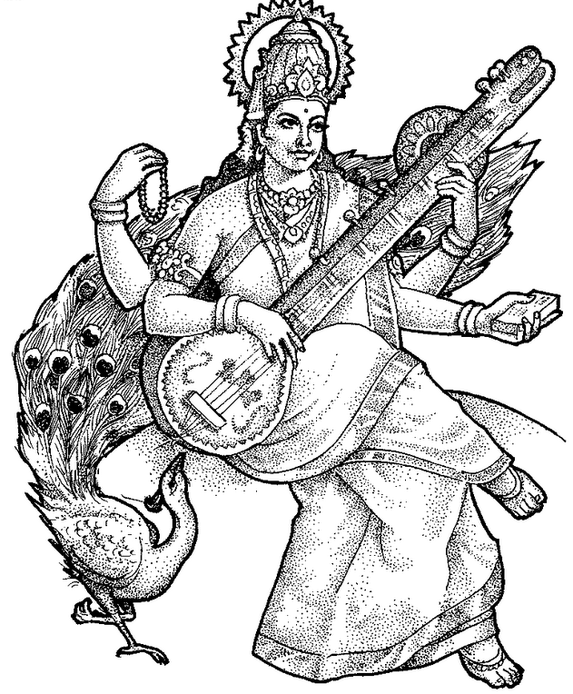 Saraswati Coloring Page - Coloringpagebook.com