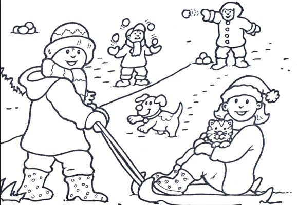 Snow Day Play Coloring Page Coloring Page Book For Kids