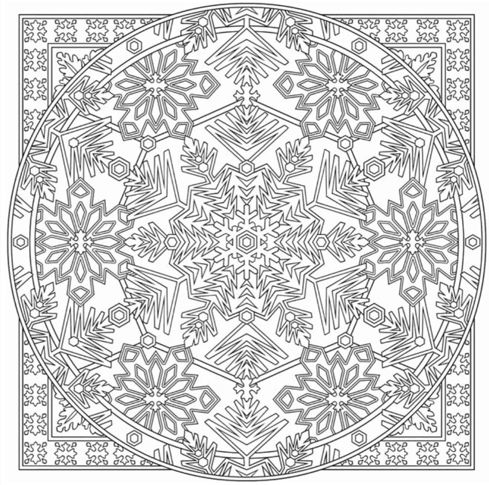 Snowflake Mandala Coloring Page coloring page & book for kids.