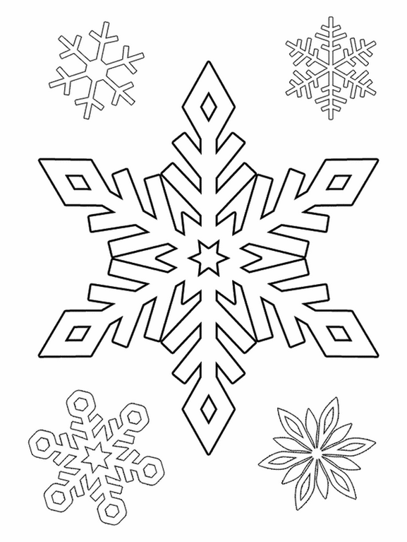 Snowflakes coloring page & book for kids.