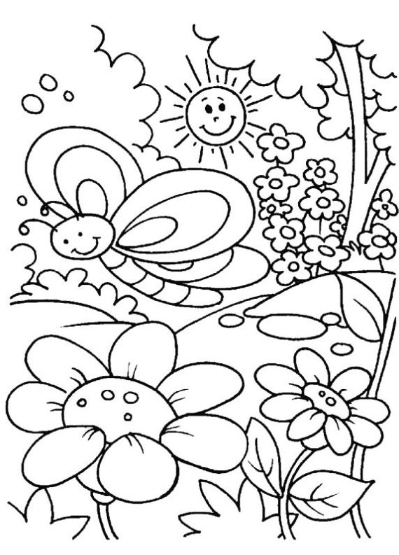 Spring Time coloring page & book for kids.