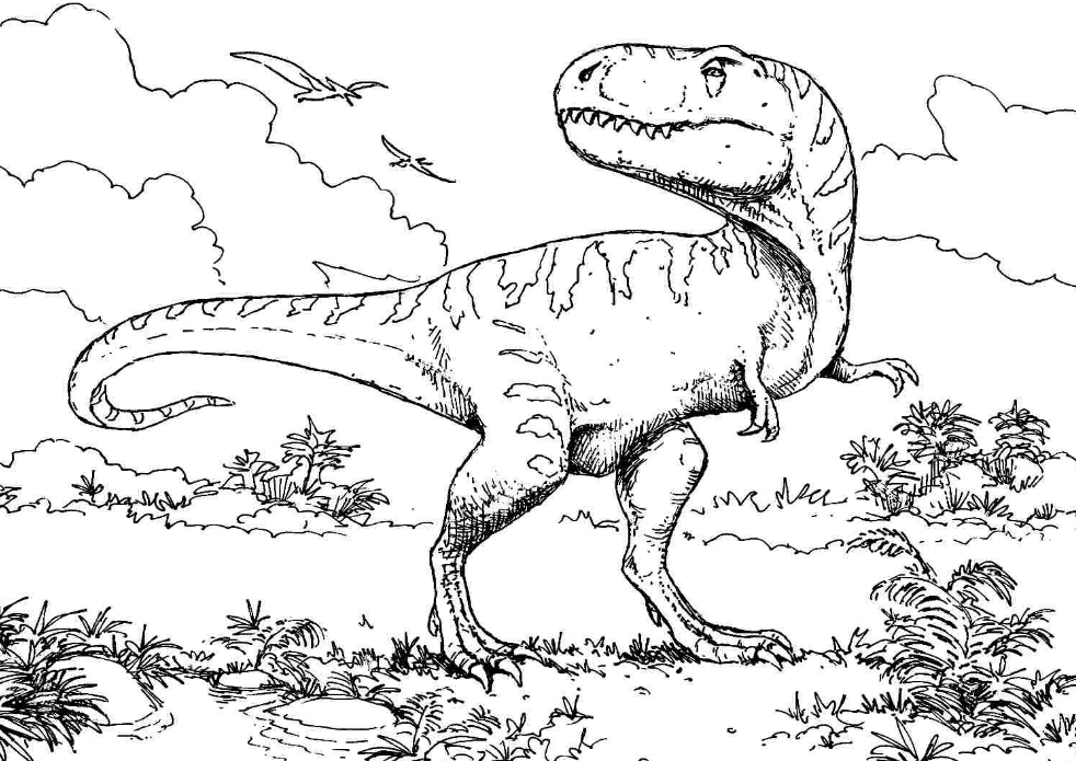 T Rex Dinosaur Coloring Page coloring page & book for kids.