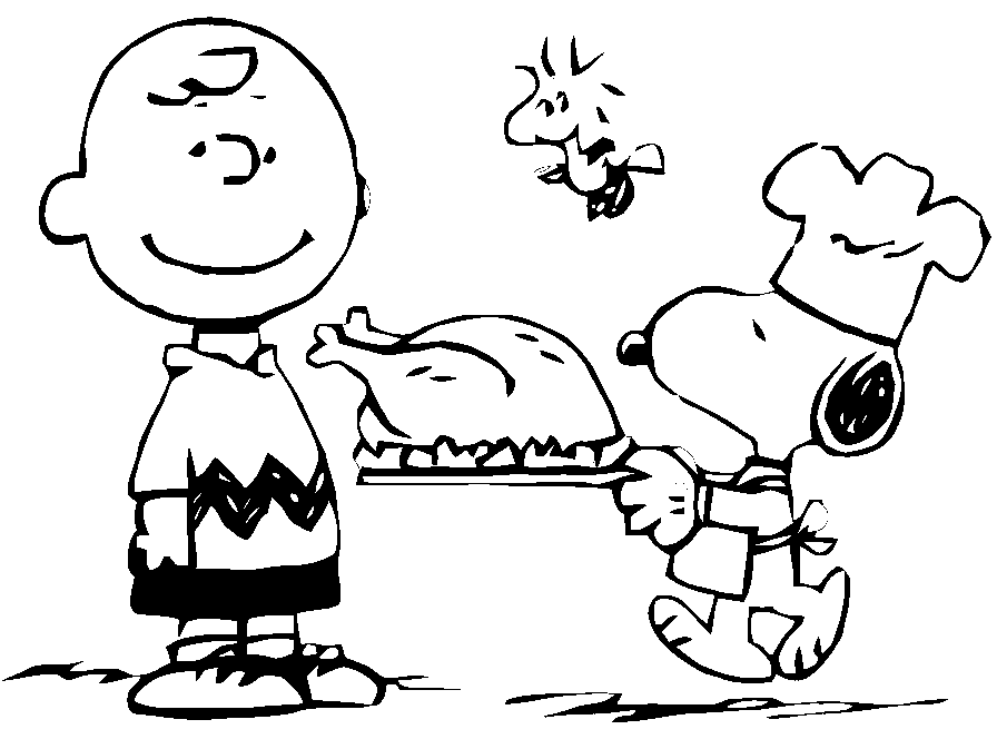 Thanksgiving Charlie Brown Coloring Page coloring page & book for kids.