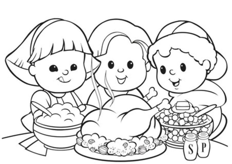 Printable Thanksgiving Dinner Coloring Page