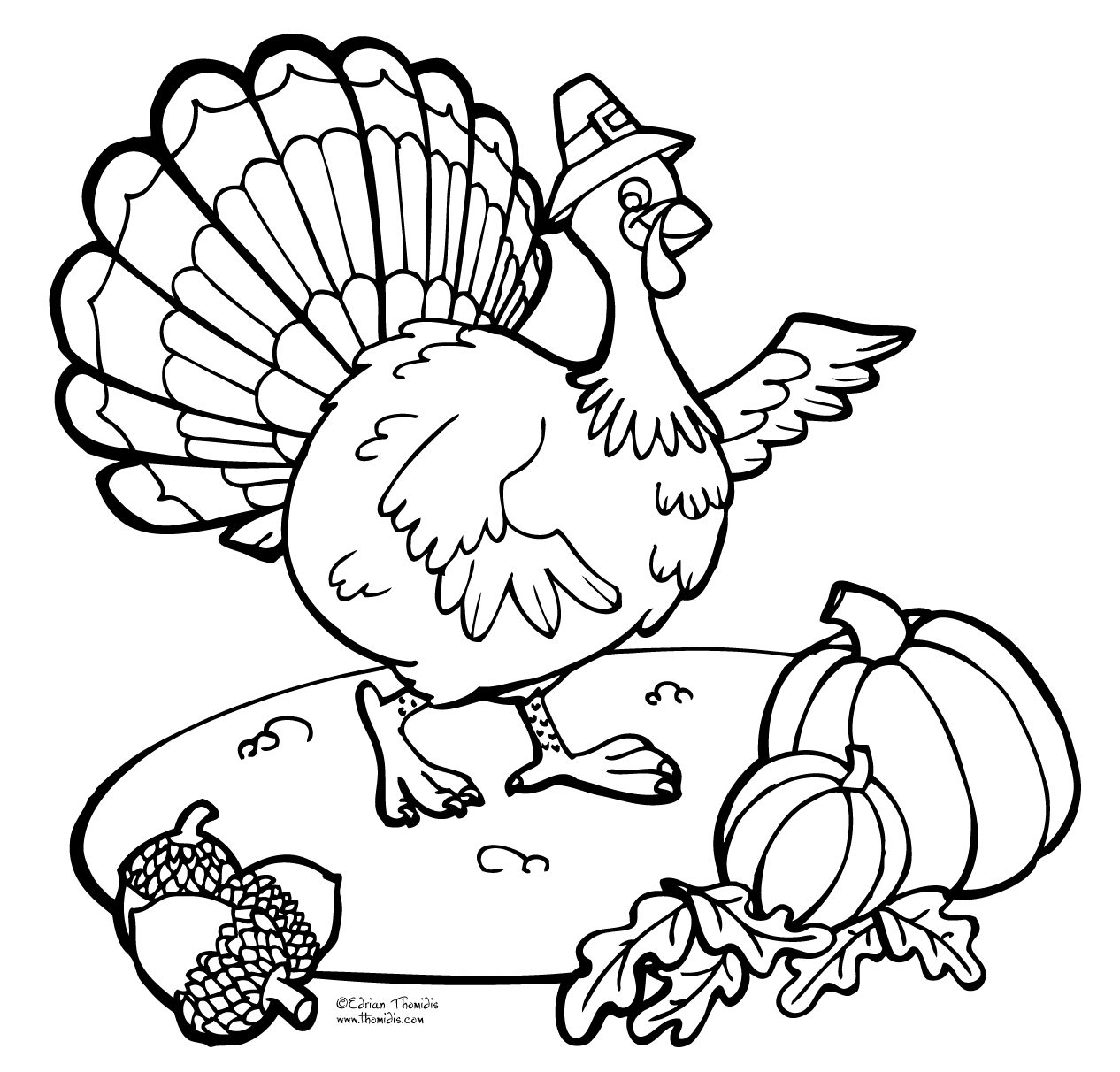 Thanksgiving Turkey Coloring Page Book For Kids