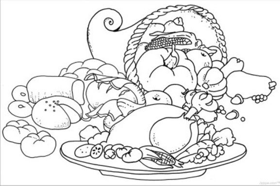 Thanksgiving Turkey Dinner Coloring Page Coloring Page Book For Kids