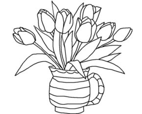 Flowers : Tulips Flowers Coloring Page, Tulips Coloring Page, Spring ...