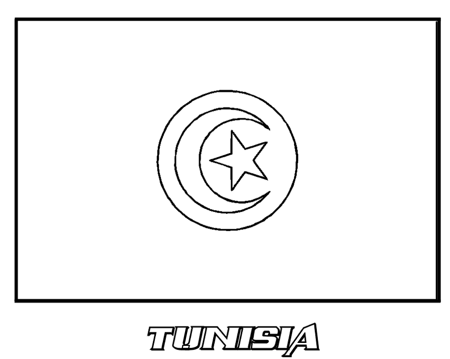 Tunisia Flag Coloring Page coloring