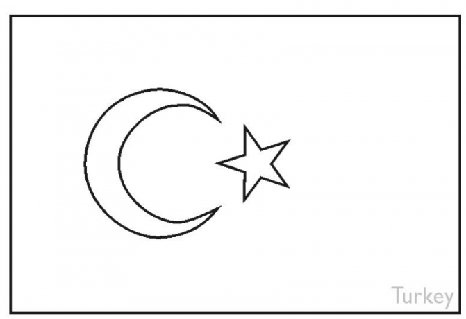 Turkey Flag Coloring Page coloring page & book for kids.