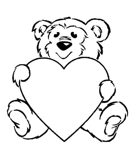 Valentine S Day Bear Coloring Page Coloring Page Book For Kids