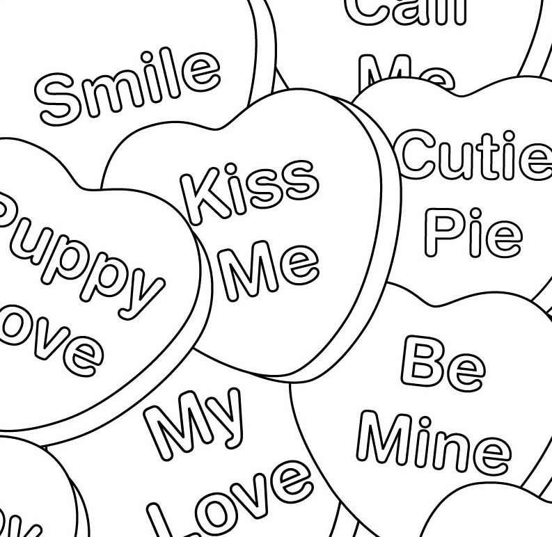 Valentines Day Hearts Coloring Page coloring page & book for ...