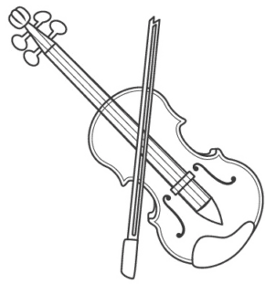 Music Viola And Bow Coloring Page