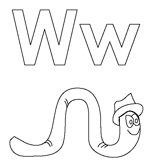 W Coloring Page Book For Kids