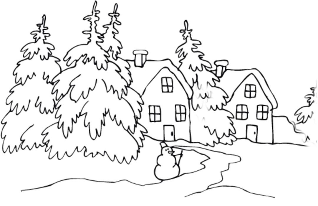 Winter Cabin Coloring Page coloring